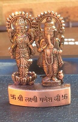 Laxmi Lakshmi Ganesha Ganpati Metal Mini Statue Hindu God Idol Office Home Altar • 4.61£