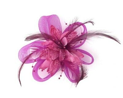 Fuchsia Pink Feather Fascinator Hair Clip Ladies Day Races Party Wedding • 18.99£