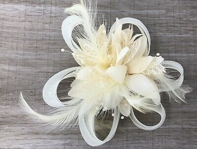 Cream Ivory Feather Fascinator Hair Clip Ladies Day Races Party Wedding • 19.99£