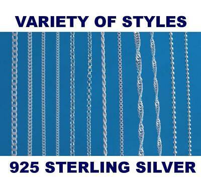 925 Sterling Silver Chain Necklace Curb  Ball  Belcher Various Lengths Available • 5.19£