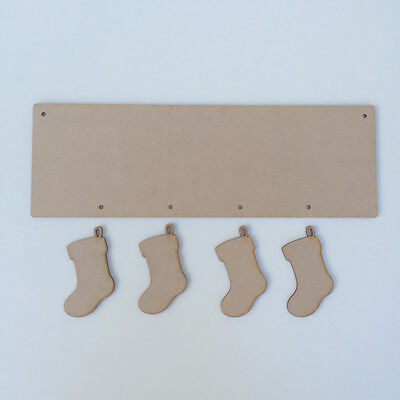 £2.11 • Buy 30cm X 10cm MDF Wooden Plaque Sign Blank Craft Shapes With Hanging STOCKINGS