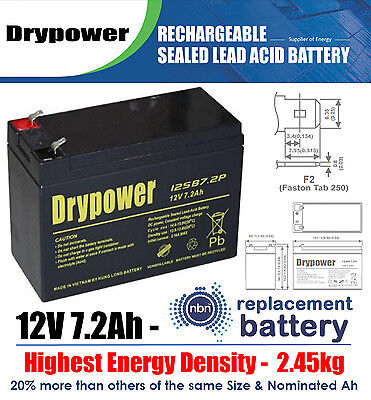 AU39.99 • Buy NBN Power Supply 12V 7.2Ah VRLA Backup Service System Sealed Lead Acid Battery