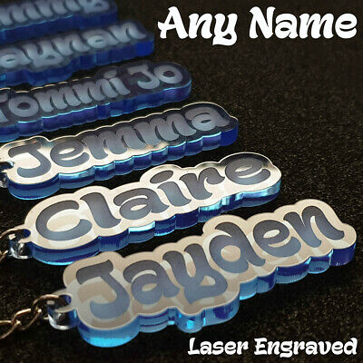 £2.75 • Buy ⭐⭐⭐⭐⭐Personalised ANY NAME LASER BLUE CUT & ENGRAVED KEYRING KEYCHAIN School