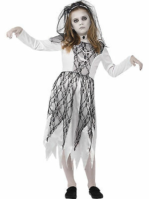 Ghost Dead Corpse Bride Girls Childs Kids Halloween Fancy Dress Costume 4-12 • 14.08£