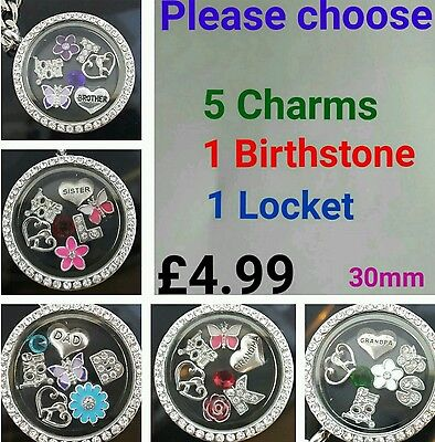 £4.99 • Buy 30mm Personalised Locket Keyring Necklace Floating Charms Pendant Chain Gift