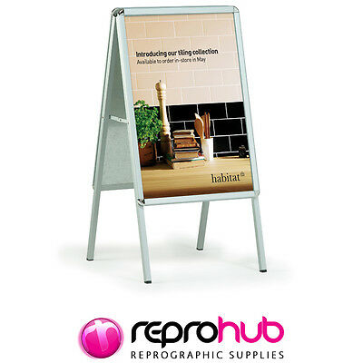 Poster Stands A-Board Pavement Sign Display Stand Snap Frame Silver • 64.99£