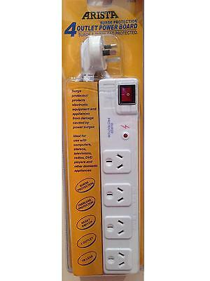 AU15.95 • Buy New 4 Way Surge Protector Power Board - 4 Outlets With Master On / Off Switch
