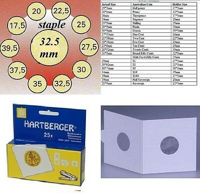 AU3 • Buy 25 HARTBERGER Staple 2 X 2 Coin Holders:32.5  Mm Made In The Netherlands