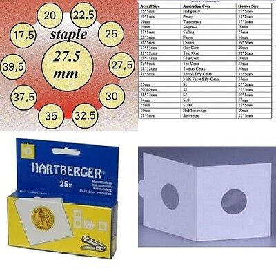 AU3 • Buy 25 HARTBERGER Staple  2 X 2 Coin Holders: 27.5 Mm Made In The Netherlands