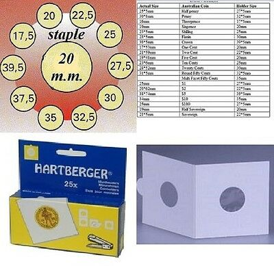 AU3 • Buy 25 HARTBERGER Staple 2 X 2  Coin Holders:20  Mm Made In The Netherlands