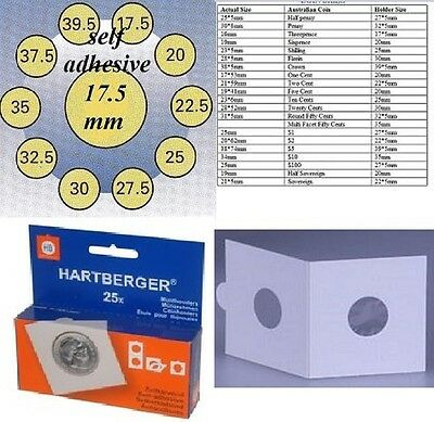 AU5 • Buy 25 HARTBERGER Self Adhesive  2 X 2 Coin Holders:17.5 Mm Made In The Netherlands