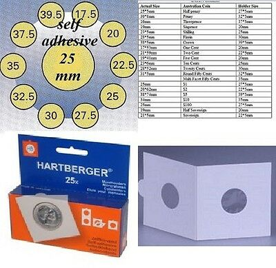 AU5 • Buy 25 HARTBERGER Self Adhesive  2 X 2 Coin Holders:25mm   Made In The Netherlands