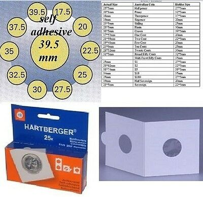 AU5 • Buy 25 HARTBERGER Self Adhesive  2 X 2coin Holders:39.5 Mm   Made In The Netherlands