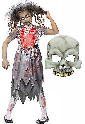Zombie Corpse Bride Girls Kids Teen Smiffys Halloween Fancy Dress Costume + MASK • 20.52£