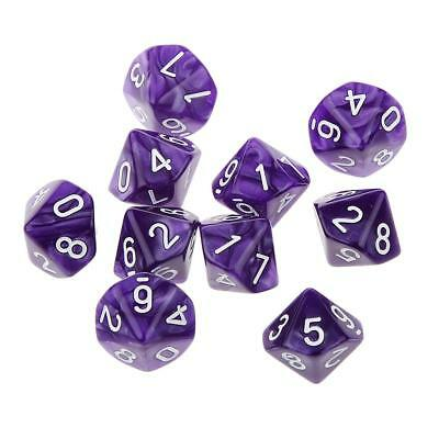 AU8.80 • Buy Pack Of 10pcs Dungeons D&D Role Playing Games Ten Sided D10(0-9) Dice Purple