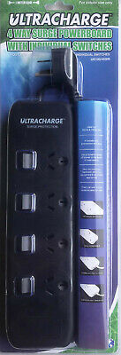 AU19.99 • Buy New 4 Way Surge Protector Power Board With Individual Switches - 4 Outlet