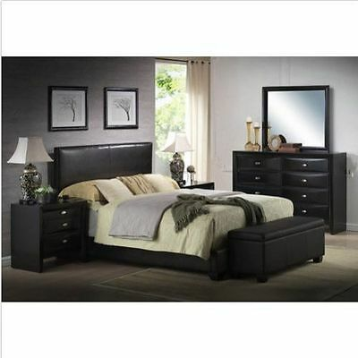 $ CDN228.35 • Buy Upholstered Bed Frame W/ Headboard Faux Leather Full Queen King Size Sizes NEW