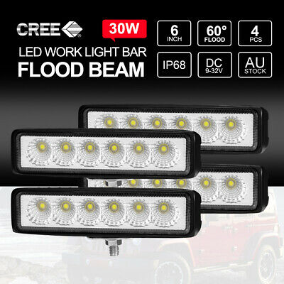 AU24.99 • Buy 4x 6 Inch 30W CREE FLOOD LED Light Bar Work Reverse DRL Ute 7  Driving Bars