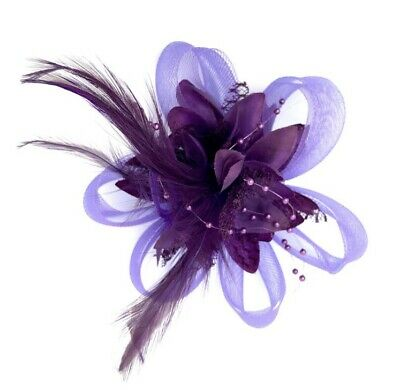 Purple Feather Fascinator Hair Clip Ladies Day Races Party Wedding • 17.99£