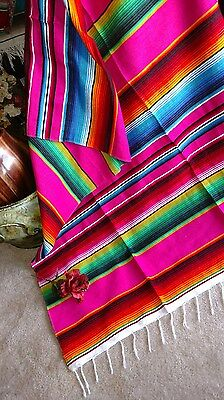 Mexican Serape Blanket Pink,Fuchsia With Rainbow Striped EXTRA LARGE • 22.43£