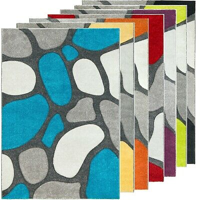Contemporary Silver Rug Runner Pebble Design 3D Textured Soft Bright Funky Grey • 31.95£