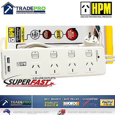 AU48.60 • Buy Power Board Surge Protector HPM® Smart Fast USBs & 4 Outlet Individual Switched