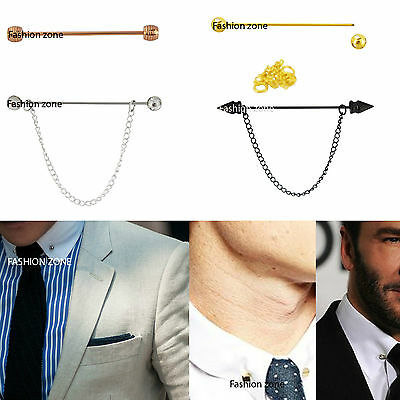 £3.99 • Buy Mens Collar Pins For Collar Shirts Black Gold Rose Gold Crystal Chain Bar Tie