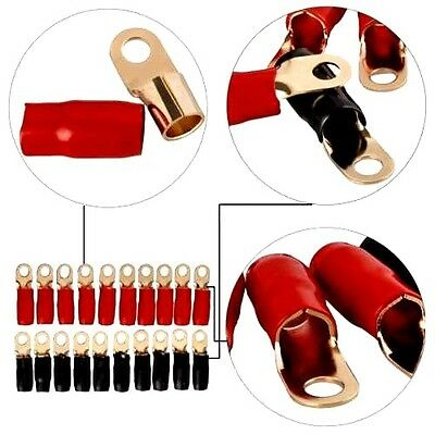 AU21.63 • Buy 0 Gauge Gold Ring Terminal 20 Pack 1/0 AWG Wire Crimp Cable Red Black Boots 5/16