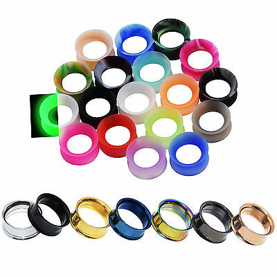 $5.39 • Buy PAIR Ear Gauges Silicone Flexible Ear Flesh Tunnels Expander Eyelets Jewelry Us