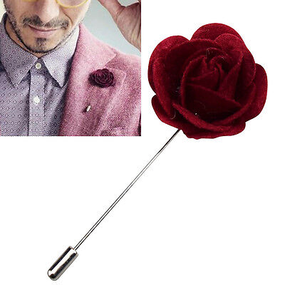 Felt Lapel Flower Boutonniere Stick Brooch Pin Men's Suit Tie Wine Handmade  • 4.64£