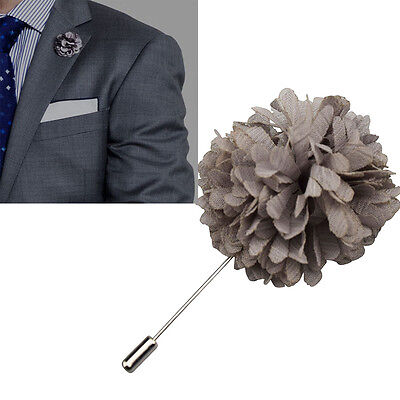 NEW Grey Lapel Flower Boutonniere Stick Brooch Pin Men's Shirt Suit Tie Handmade • 3.71£