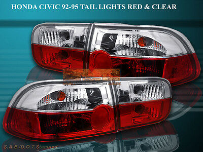 $82.99 • Buy Fit For 92 93 94 95 HONDA CIVIC TAIL LIGHTS 2/4D R/C CRYSTAL