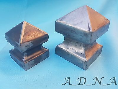 HIGH DECORATIVE PYRAMID SQUARE METAL FENCE/GATE POST CAP FLANGE 60 2.44  80mm • 3.90£