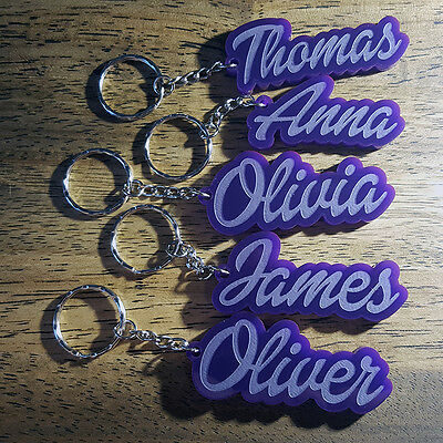 £3.48 • Buy VIOLET PURPLE Personalised KEYRING KEYCHAIN MADE TO ORDER ANY NAME SCHOOL BAG