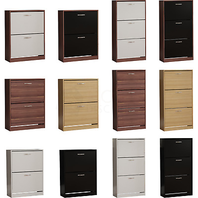 View Details 2 3 Drawer Shoe Cabinet Storage Cupboard Footwear Wooden Unit New From 26.65 • 26.65£