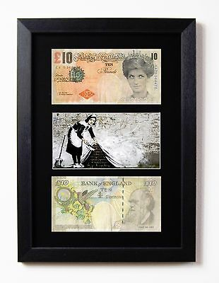 £19.95 • Buy 2 Framed & Mounted Difaced Tenners £10 Note Banksy Maid Sweeper Presentation
