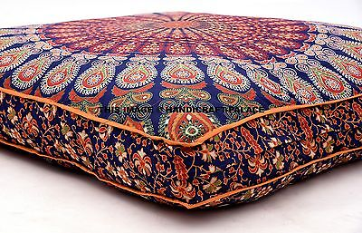 Indian Peacock Mandala Floor Pillow Throw Square Cushion Cover Meditation Pouf • 18.99£