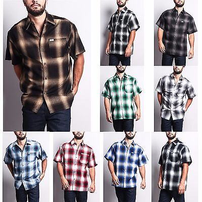 $27.95 • Buy Men's Western Casual Old School Plaid Flannel Short Sleeve Button Shirt   Y2000S