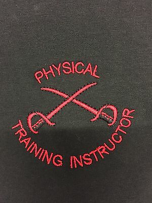 BRITISH ARMY PTI PHYSICAL TRAINING INSTRUCTOR T-SHIRTS Black & Red • 13.99£