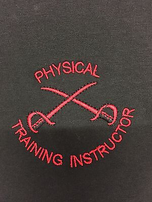 BRITISH ARMY PTI PHYSICAL TRAINING INSTRUCTOR T-SHIRTS Black & Red • 14.99£