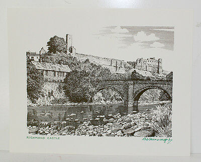 £88 • Buy Original Richmond Castle Print Signed By Alfred Wainwright Yorkshire Lakes