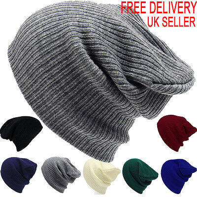 £4.35 • Buy Mens Ladies Knitted Woolly Winter Slouch Beanie Hat Cap One Size Skateboard