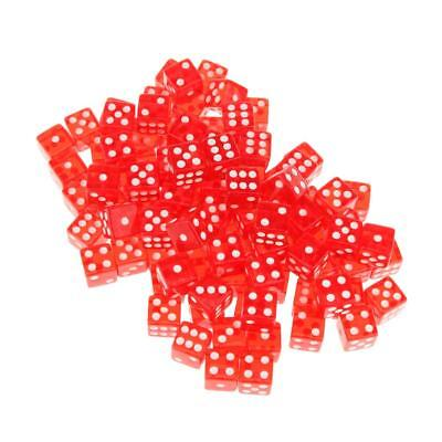 AU19.03 • Buy 100pcs Acrylic Red Translucent Six Sided Spot Dice Party Games Dice 16mm