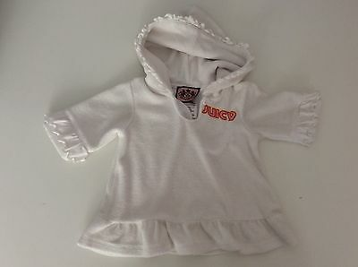 JUICY COUTURE White Towelling Beach Hoodie Dress Age 3/6 Months Girls • 9£