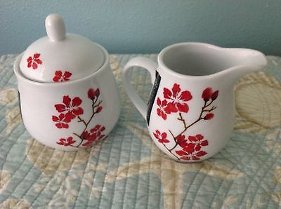 $24.99 • Buy New Roscher Red Floral  Sugar Bowl Creamer Fine China