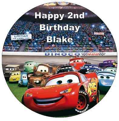 Disney Cars Lightning Mcqueen Personalised Wafer Paper Topper For Large Cake 7.5 • 1.85£