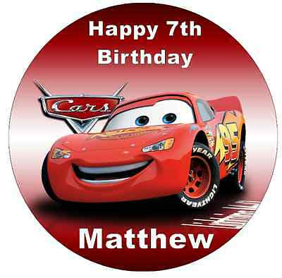 Lightning Mcqueen Disney Cars Personalised Wafer Paper Topper For Large Cake 7.5 • 1.85£