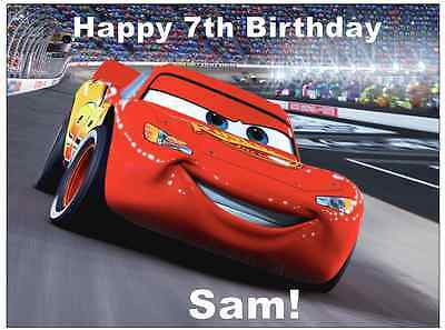 Disney Cars Lightning Mcqueen Personalised Wafer Paper Topper For Large Cake A4. • 1.85£