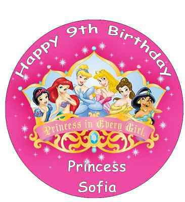 £1.85 • Buy Disney Princess Personalised Birthday Cake Topper Edible 7.5  Wafer Cake Toppers