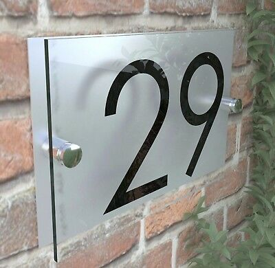 Contemporary HOUSE SIGN / PLAQUE / DOOR / NUMBER / GLASS EFFECT ACRYLIC • 7.98£